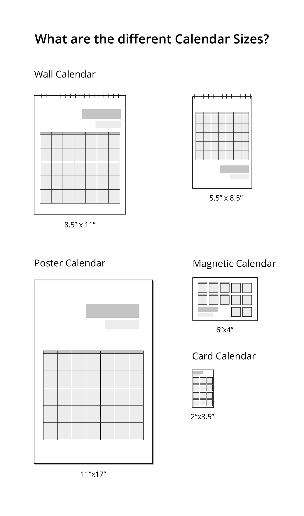 Calendar Types and Sizes
