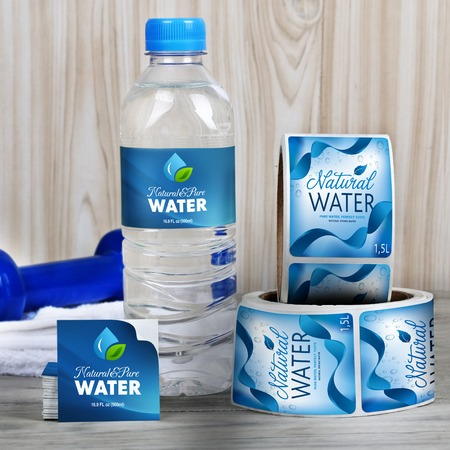 Water bottle label printing custom shapes and sizes for Mineral water label template