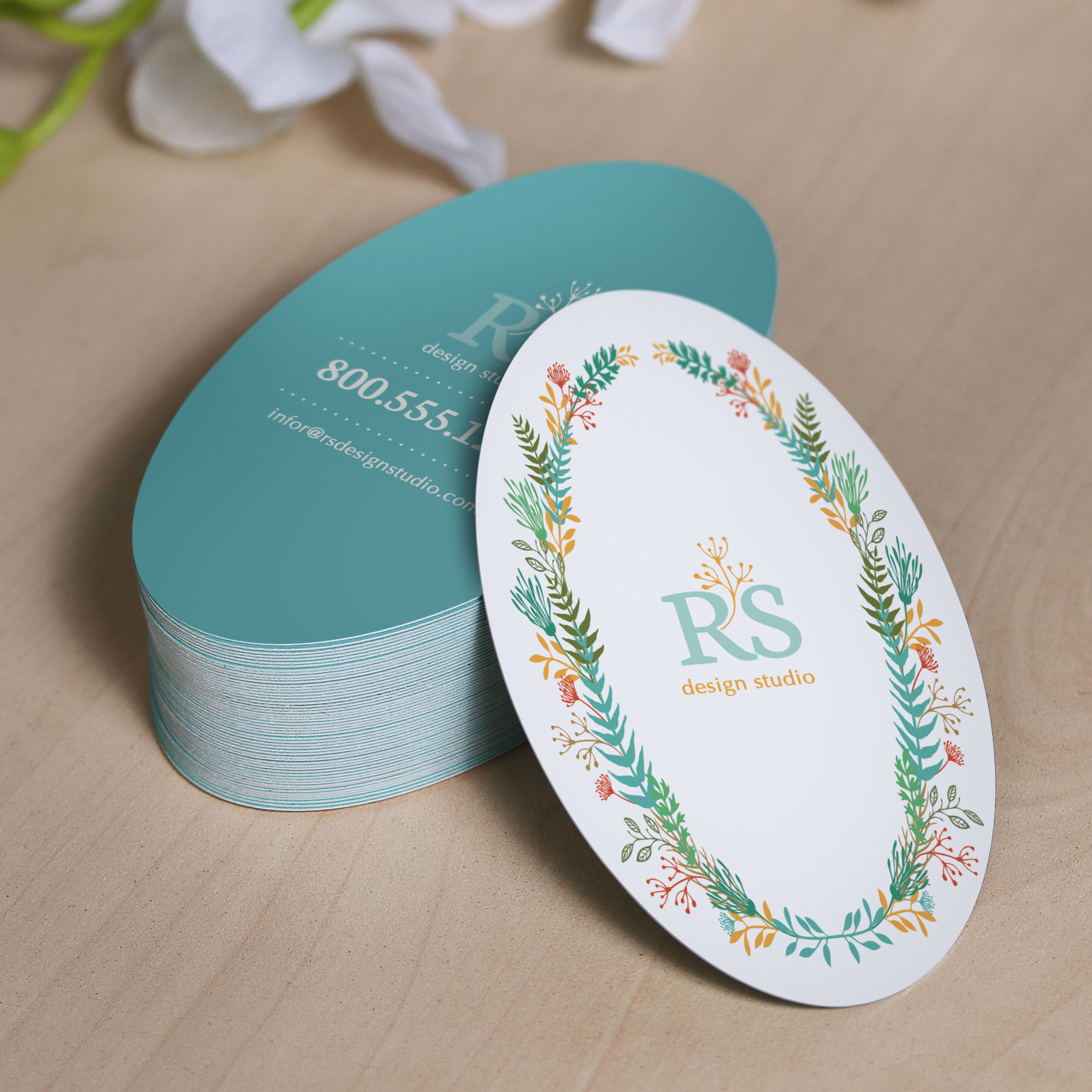 Oval Business Cards | Die-Cut Cards